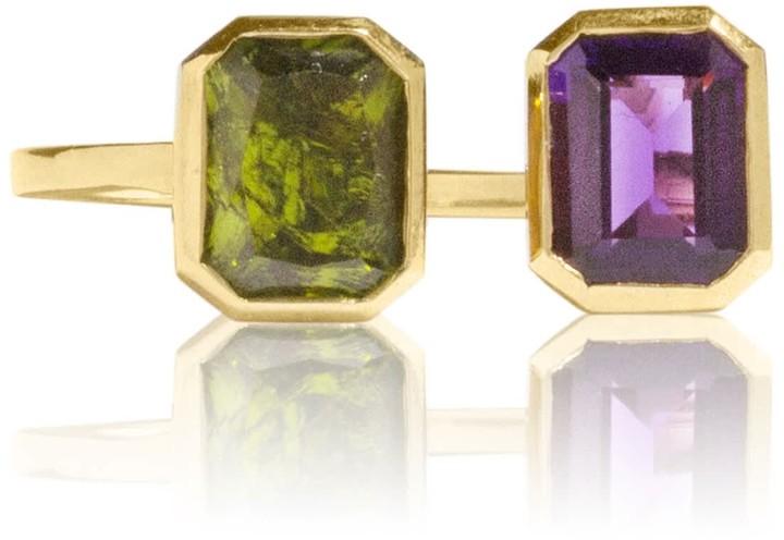 Adore Adorn Jewelry Lila Brass Ring Amethyst & Peridot