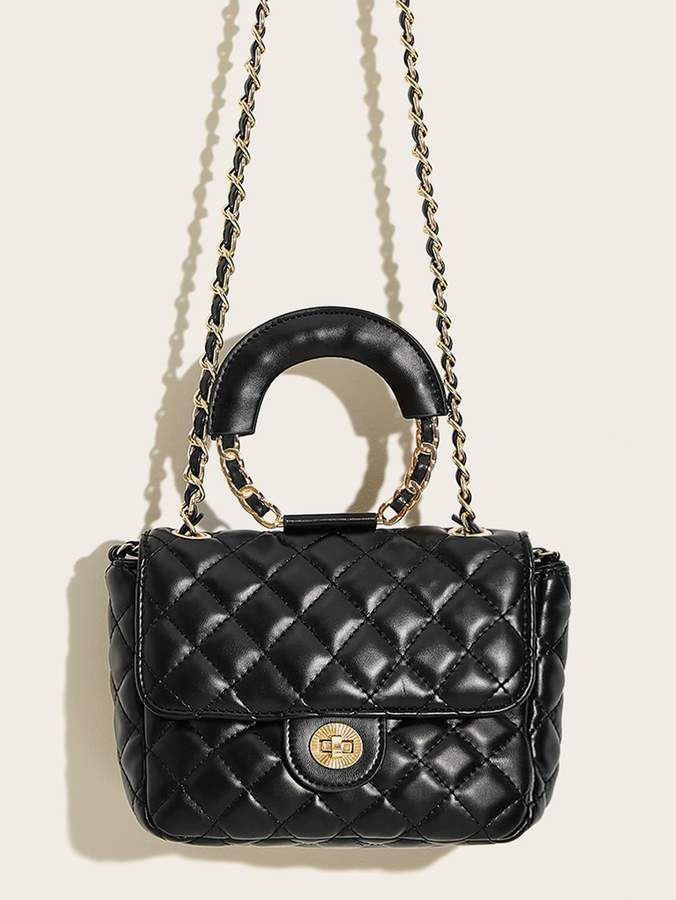 Romwe Twist Lock Quilted Satchel Bag