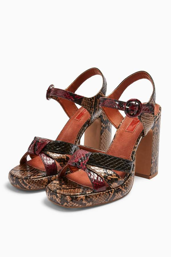 Womens Ripple Snake Print Platform Shoes - Natural