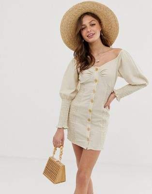 Asos Design ASOS DESIGN button through shirred linen mini dress-Cream