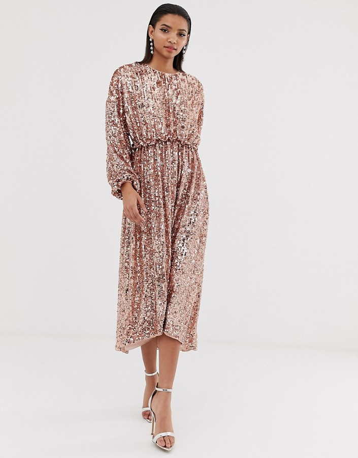 Asos Edition ASOS EDITION open back waisted midi dress in sequin-Silver