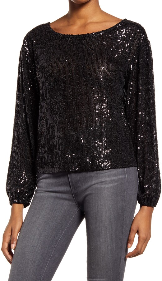 Festive outfits for NYE at home | Chelsea28 - Sequin Long Sleeve Top