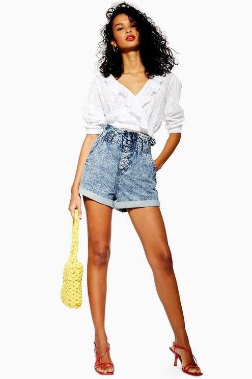 Topshop Womens Acid Wash Paperbag Denim Shorts - Mid Stone