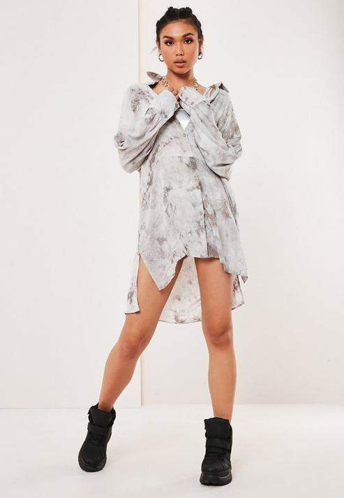 Grey Tie Dye Oversized Shirt Dress, Grey
