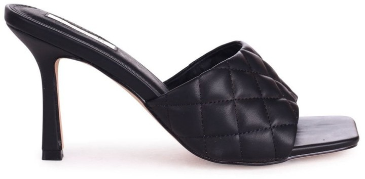 Linzi SICILY - Black Nappa Square Toe Heel With Quilted Front Strap