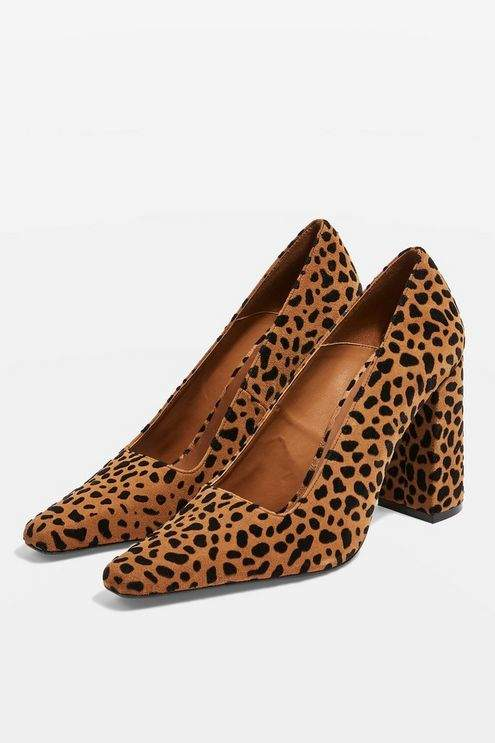 Topshop Womens Geena Leather Block Heel Court Shoes - True Leopard