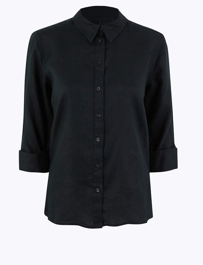 M&S CollectionMarks and Spencer Pure Linen Button Detailed Shirt