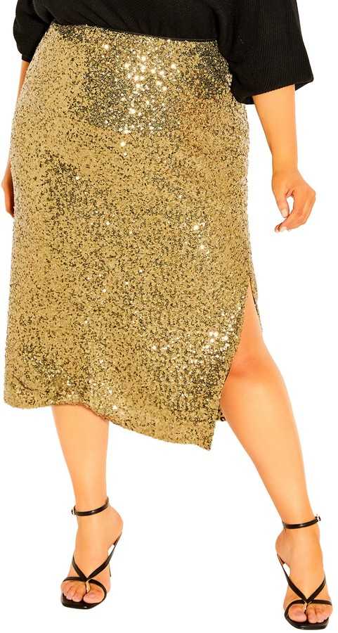 Festive outfits for NYE at home | City Chic -Bronzed Sequin Skirt