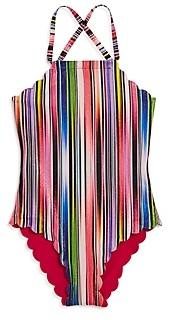 Pilyq PilyQ Girls' Reversible Rainbow One-Piece Swimsuit - Little Kid, Big Kid