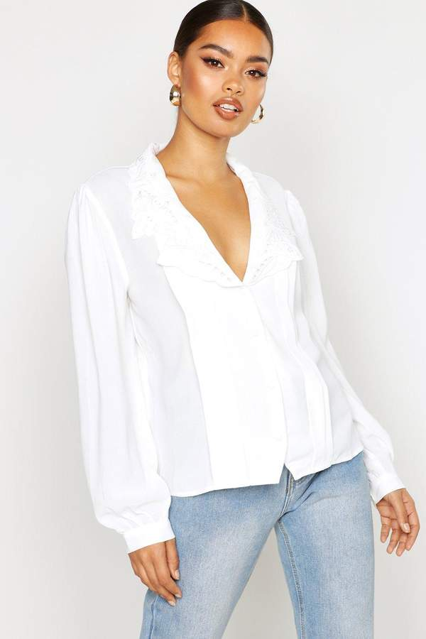 boohoo Woven Lace Collar Pleated Shirt