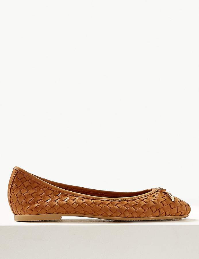 M&S CollectionMarks and Spencer Wide Fit Leather Weave Ballet Pumps