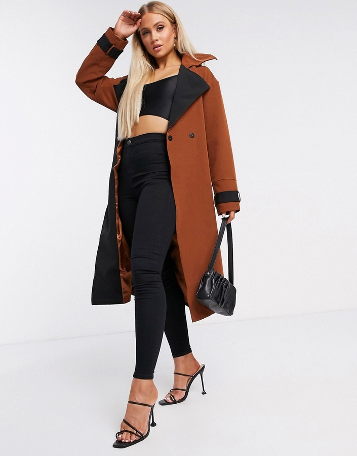 Unique21 contrast belted trench coat in brown