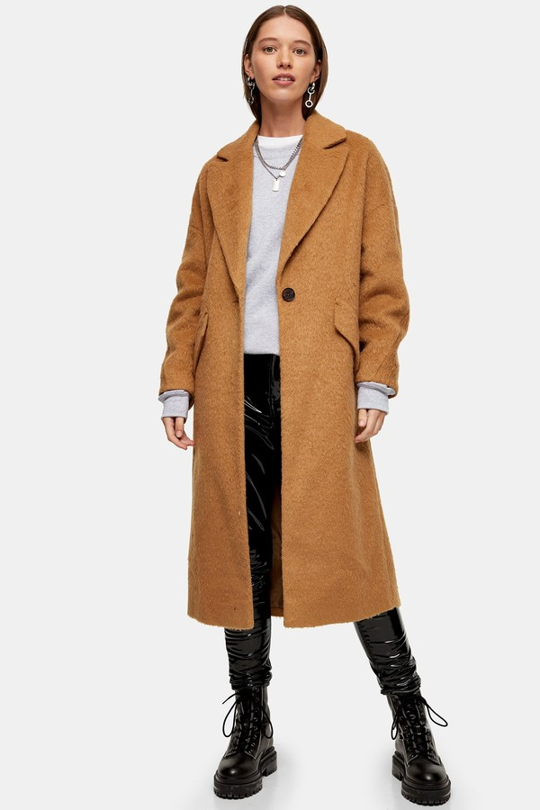 Topshop Womens Camel Slouchy Coat - Camel