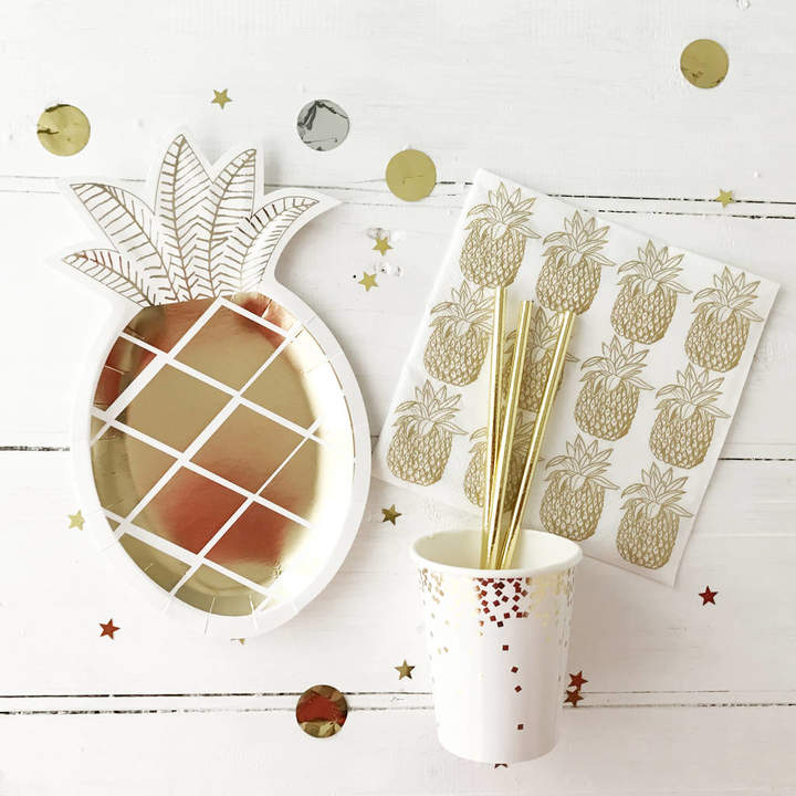 Postbox Party Gold Pineapple Party Tableware Set