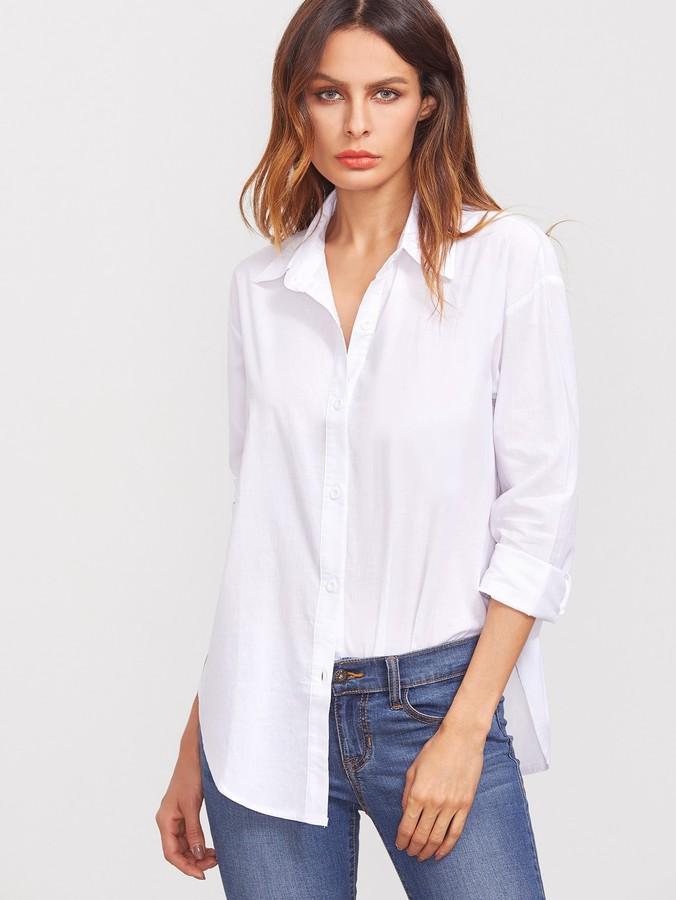 Curved Hem Button Through Shirt