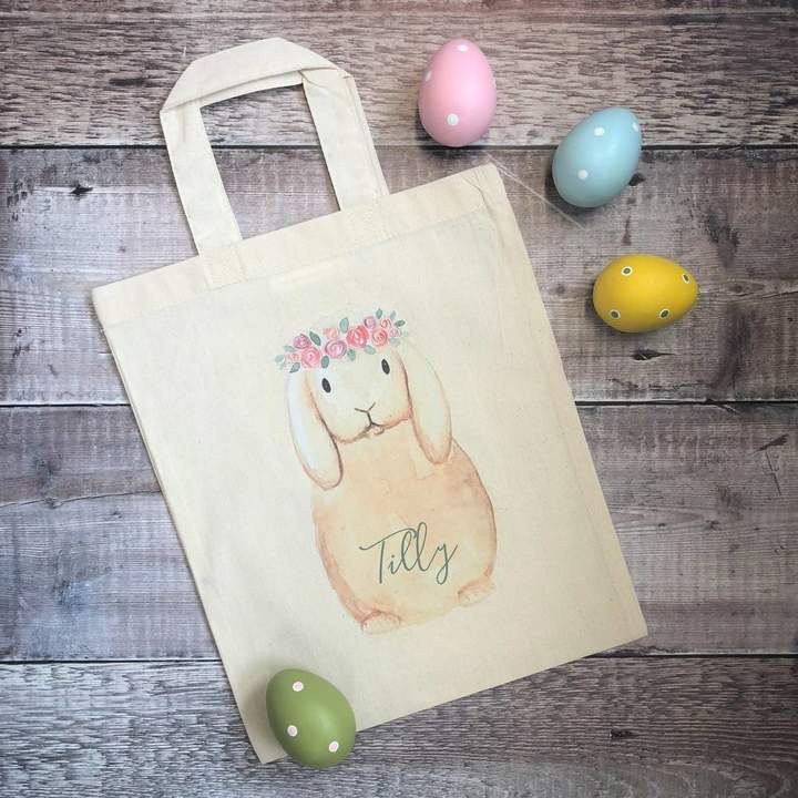 Sparks And Daughters Personalised Flower Crown Bunny Easter Hunt Bag