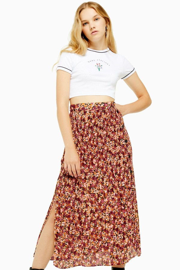 Topshop Womens Floral Pleat Side Button Midi Skirt - Multi