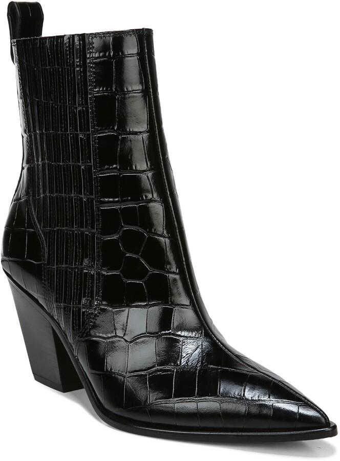 Veronica Beard Sanai Pointed Toe Croc Embossed Bootie