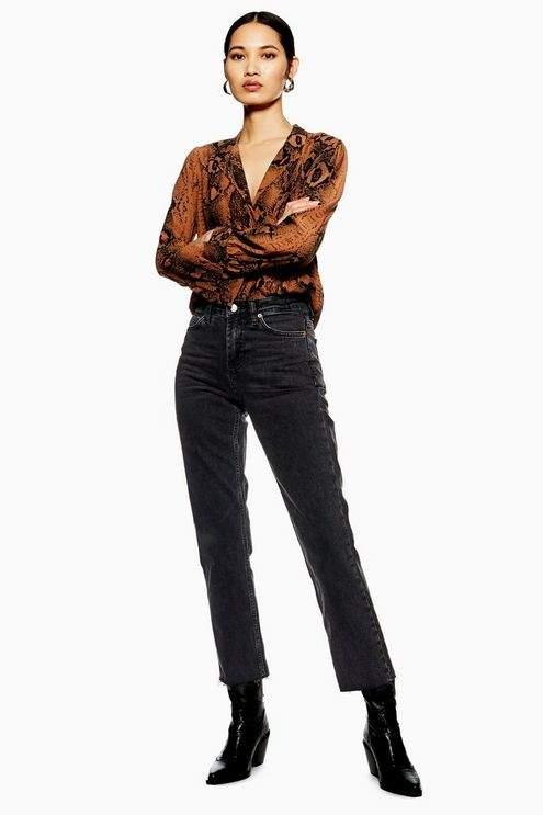 Topshop Womens Washed Black Raw Hem Straight Leg Jeans