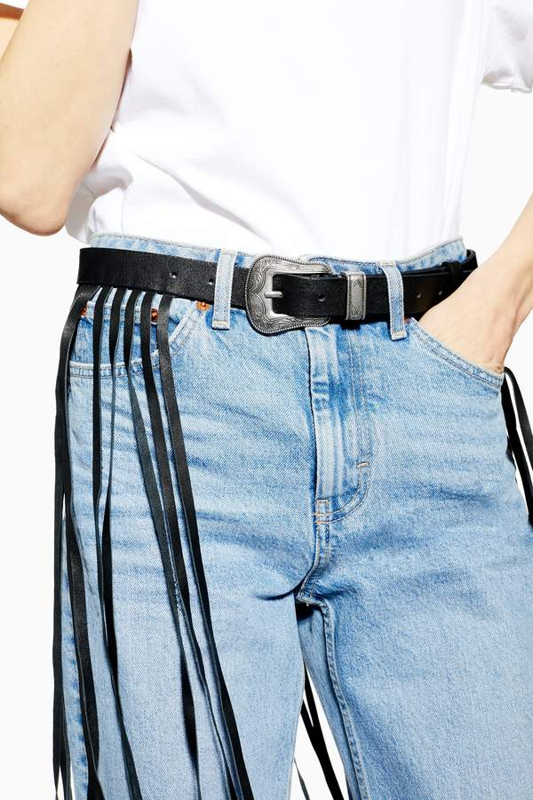 Topshop Womens Maxi Fringe Belt - Black