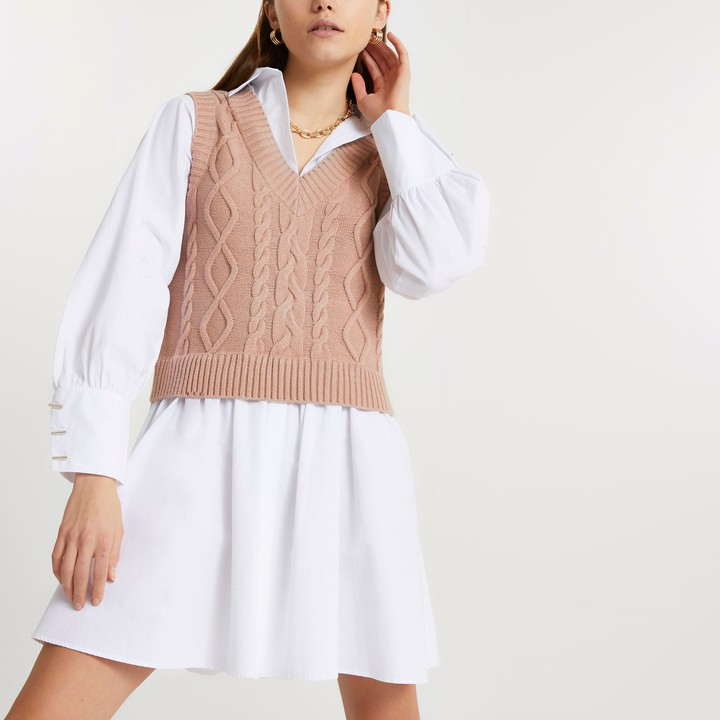 River Island Womens Brown cable knit tank dress
