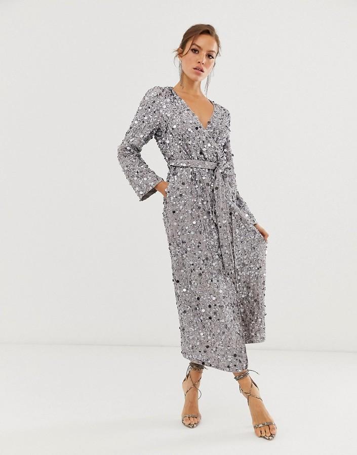 Asos Edition ASOS EDITION wrap midi dress in disc sequin