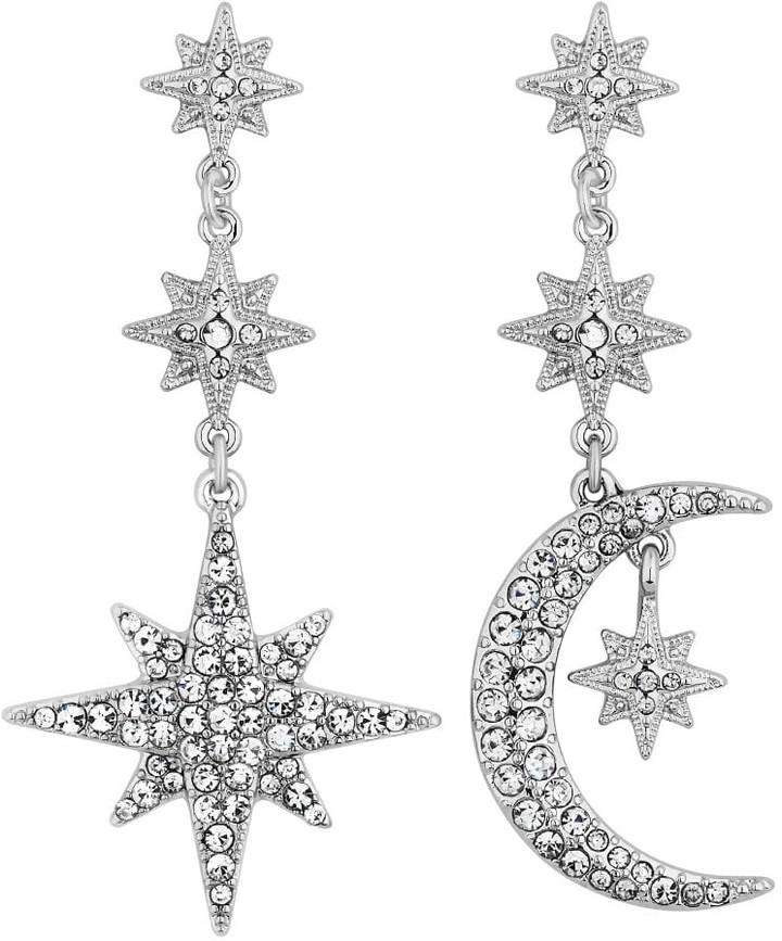 Jon Richard Jewellery Silver Crystal Moon And Star Statement Drop Earrings