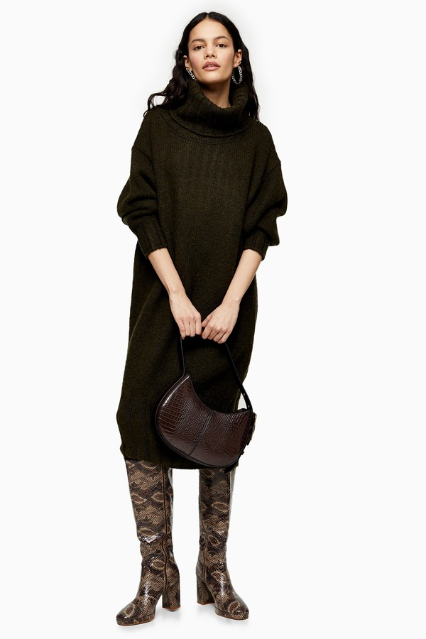 Womens Khaki Oversized Cocoon Knitted Dress - Khaki