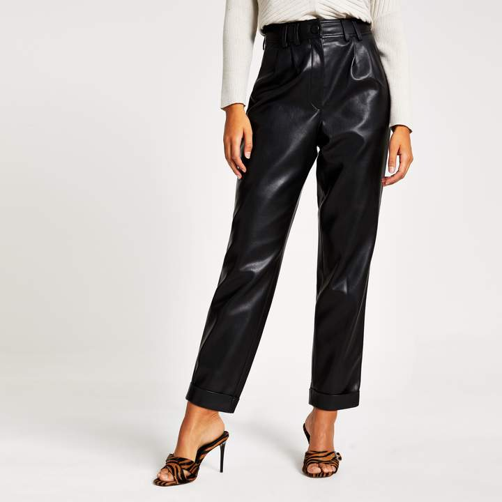 River Island Womens Black faux leather high waisted peg trousers