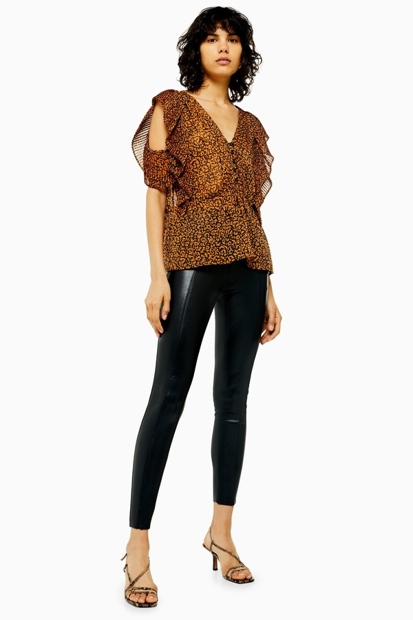 Womens Black Faux Leather Skinny Trousers - Black