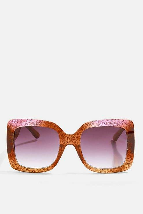Topshop Womens Wendy Glitter Square Sunglasses