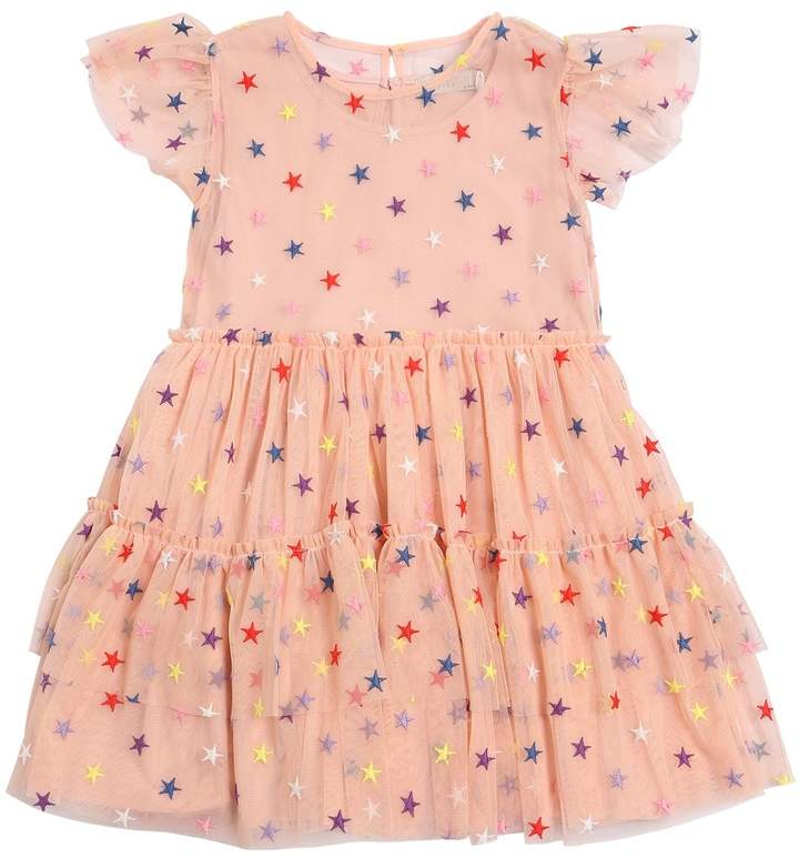 Stella Mccartney Kids Star Embroidered Stretch Tulle Dress