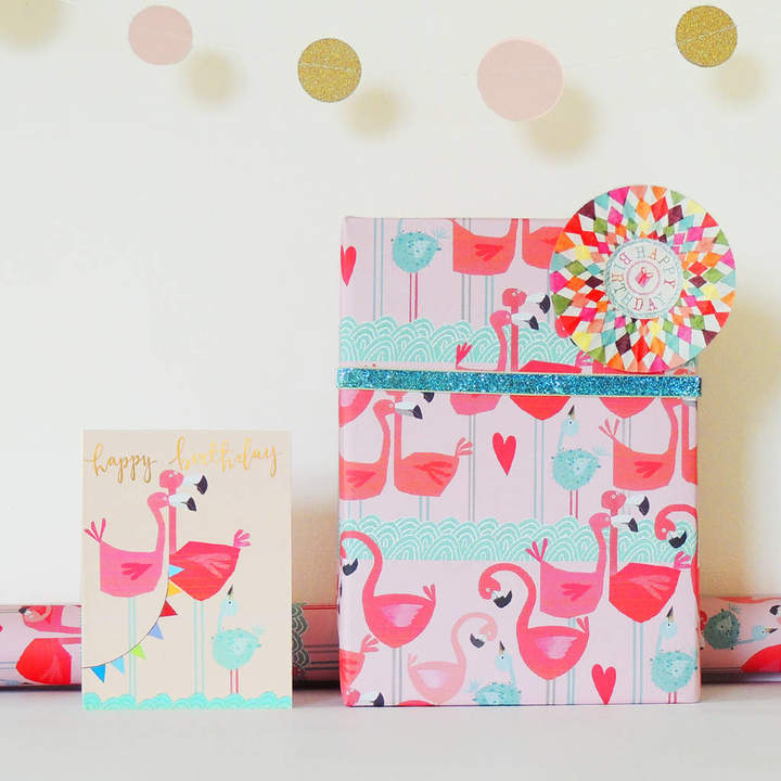 Kali Stileman Publishing Flamingos Gift Wrap Two Sheets