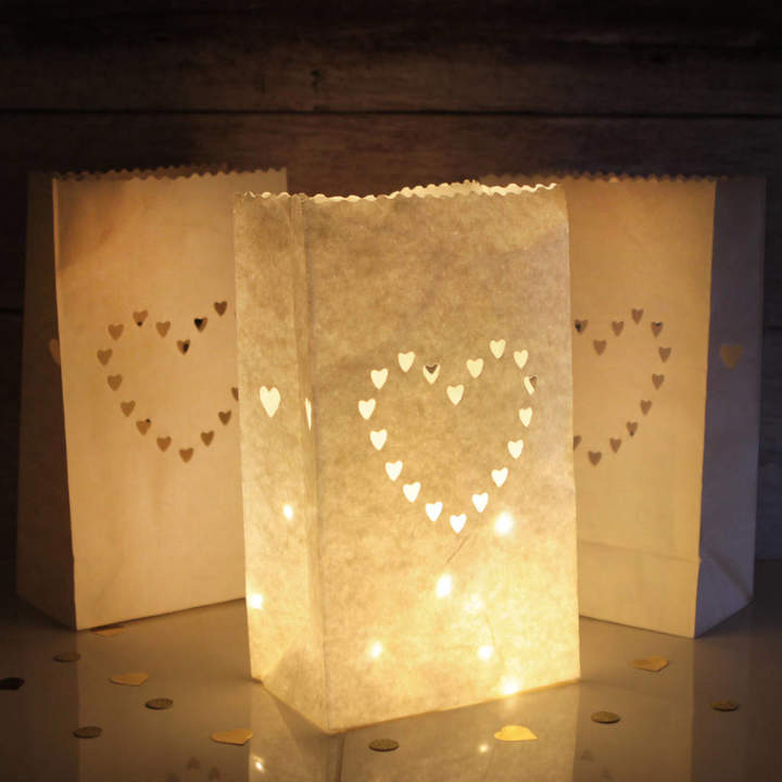 Postbox Party 10 Love Heart Paper Lantern Decorations