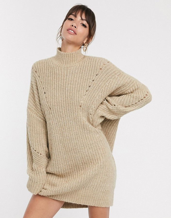 ASOS DESIGN oversized relaxed jumper dress with stitch detail