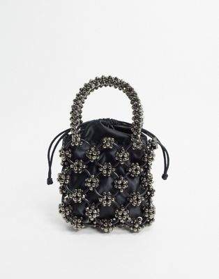 Topshop grab bag with beading in grey