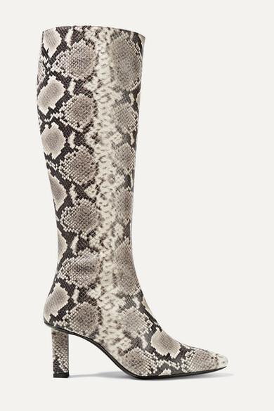 Staud STAUD - Benny Snake-effect Leather Knee Boots - Snake print