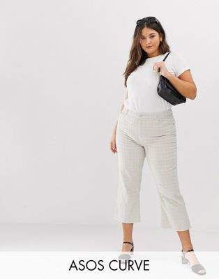 Asos Curve ASOS DESIGN Curve Egerton rigid cropped flare jeans in putty check cord-Brown