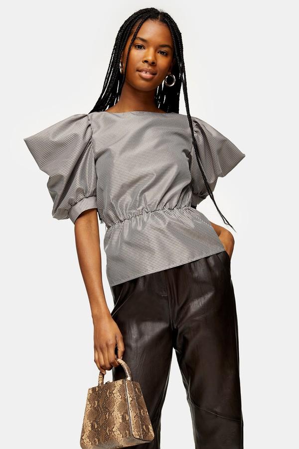 Womens Black And White Check Drama Sleeve Blouse - Monochrome