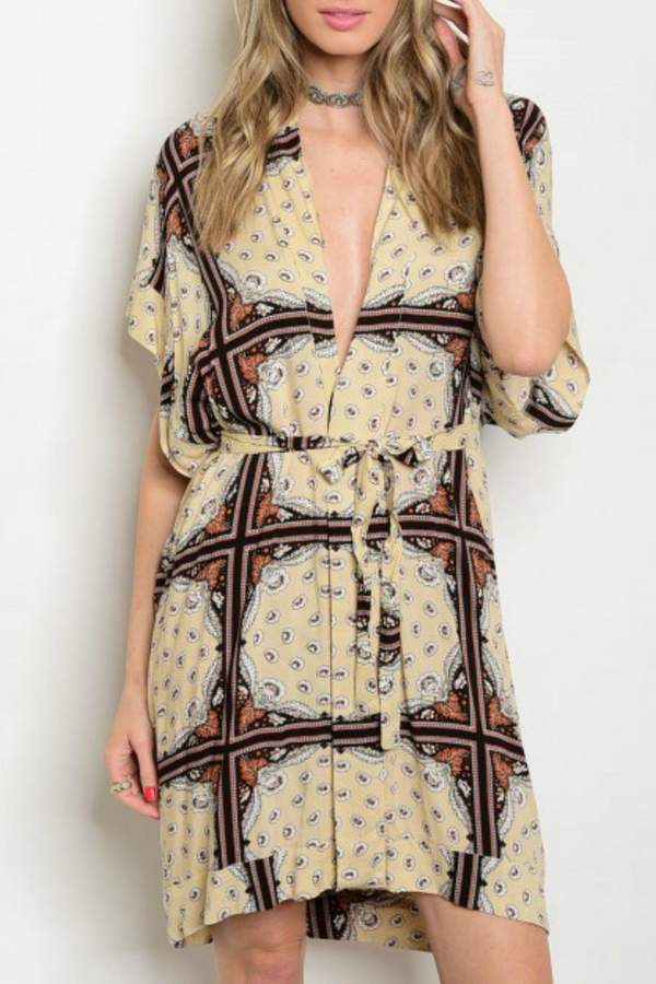 House Of Atelier Plungeneck Print Dress