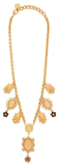 Dolce & Gabbana - Charm & Faux-pearl Necklace - Womens - Gold