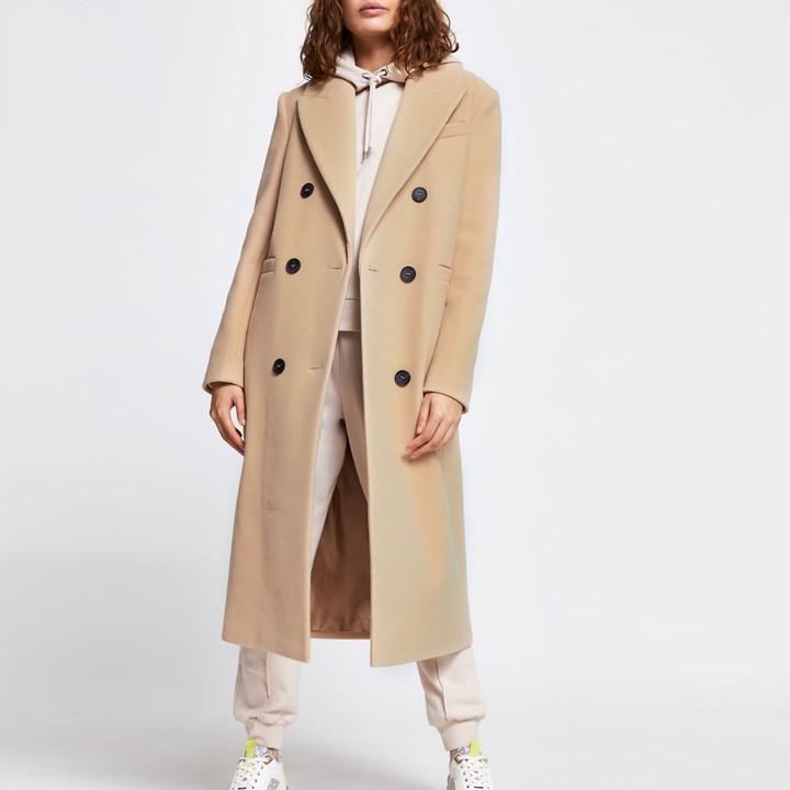 River Island Womens Beige boyfriend longline boxy coat