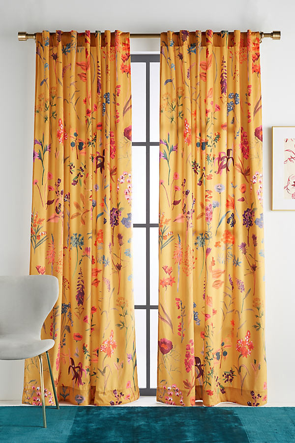 layne velvet curtain by in yellow size 50x63