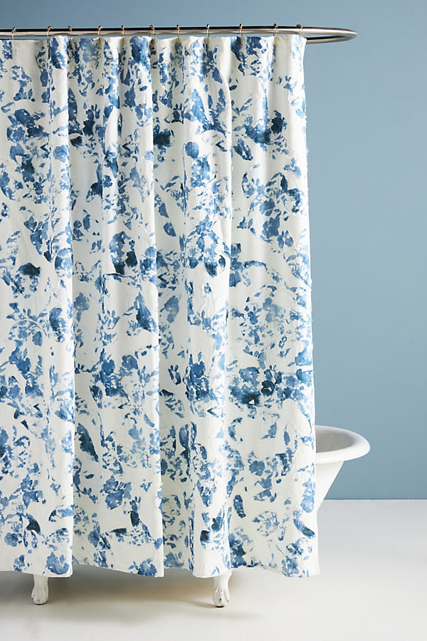 poppy applique shower curtain by in blue size 72 x 72