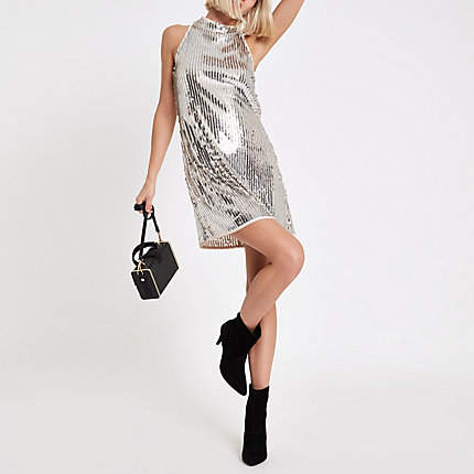 Womens Silver sequin sleeveless swing dress