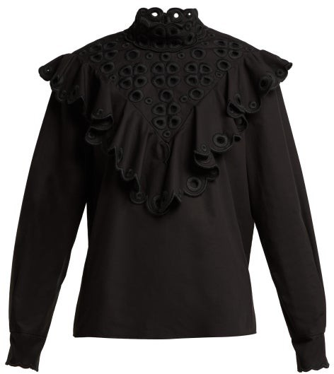 Fendi - Ruffle Broderie-anglaise Cotton Blouse - Black