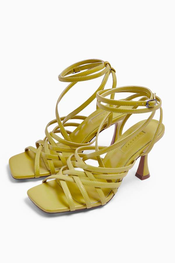 Topshop Womens Rhapsody Lime Leather Strappy Sandals - Lime