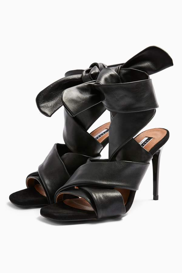 RICO Leather Black Strap Heels