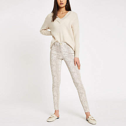 River Island Womens Cream Molly snake print jeggings