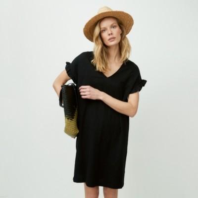 Organic Cotton Frill Sleeve Jersey Dress, Black, 4